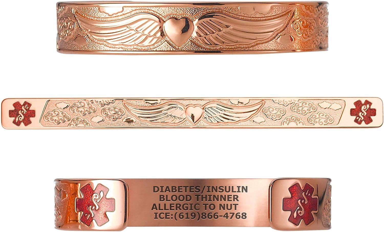 Divoti Custom Engraved Medical Alert Bracelets for Women, Stainless Steel Medical Bracelet, Medical ID Bracelet w/Free Engraving - Angel Wing w/ 6