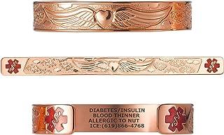 "Divoti Custom Engraved Medical Alert Bracelets for Women, Stainless Steel Medical Bracelet, Medical ID Bracelet w/Free Engraving - Angel Wing w/ 6"" Cuff (fits 6.5-8.0"") – Color"