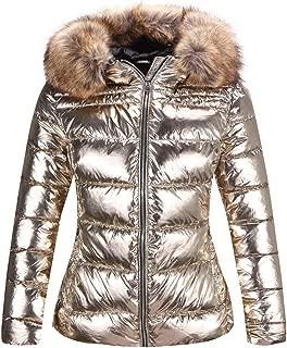 Women's Ultra Lightweight Puffer Coat,Metallic Shiny Jacket with Detachable Fur Collar Warmth Winter Outerwear
