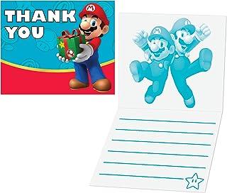 Birthday Express Super Mario Party Supplies - Thank-You Notes (8)