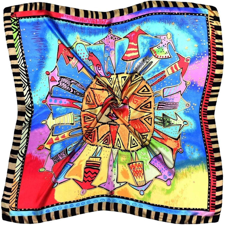 bluee Bright Sun Print Fine Pure Silk Square Scarf