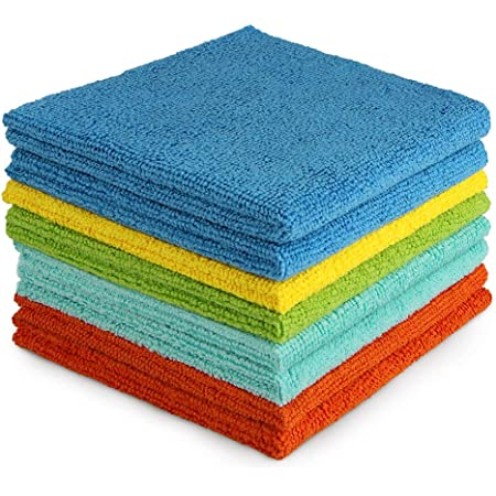 AIDEA Microfiber Cleaning Cloths-8PK, All-Purpose Softer Highly Absorbent, Lint Free - Streak Free Wash Cloth for House, Kitchen, Car, Window, Gifts(12in.x 12in.)