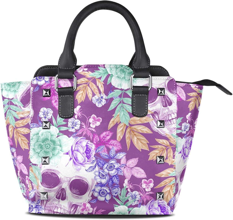 My Little Nest Women's Top Handle Satchel Handbag Floral Skull Ladies PU Leather Shoulder Bag Crossbody Bag