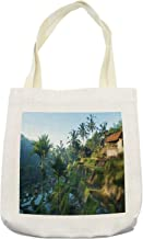 Ambesonne Balinese Tote Bag, Terrace Rice Fields Palm Trees Traditional Farmhouse Morning Sunrise Bali Indonesia, Cloth Linen Reusable Bag for Shopping Books Beach and More, 16.5