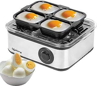 Lifelong 2-in1 Egg Boiler and Poacher 500-Watt (Transparent and Silver Grey), Boil 8 eggs, Poach 4 eggs, Easy to clean  3 ...