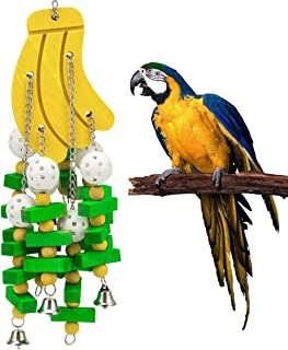MEWTOGO Bird Block Toys with Bells for Medium Parrots and Birds Like Amazon,African Grey and Cockatoos