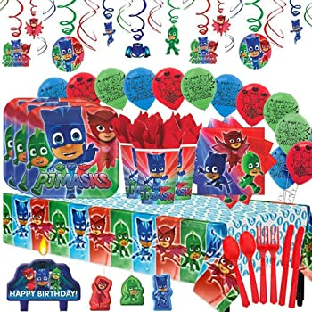 OFFICIAL PJ MASKS PARTY SUPPLIES  LOOT BAGS STICKERS,TATTOOS BALLOON INVITES