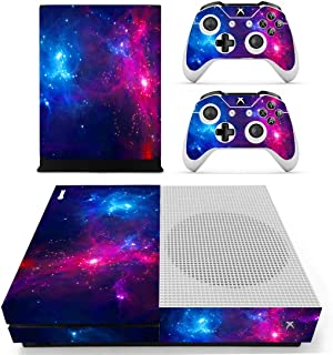UUShop Protective Vinyl Skin Stickers for Microsoft Xbox One S with Two Free Wireless Controller Decals Purple Blue Galaxy
