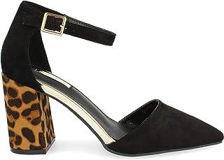 56488a17 Zapato de tacón Cuadrado y Punta Fina. en Tres Tonos. con Animal Print en
