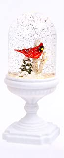 Battery Operated Lighted Musical Cardinal Scene Spinning Water Globe On Pedestal with Timer