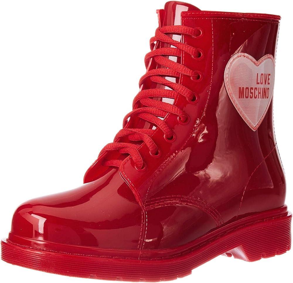 Love moschino, stivaletto da donna, rosso JA24073G1BIR2500