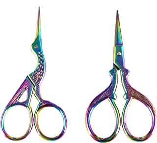 AQUEENLY Embroidery Scissors, Stainless Steel Sharp Stork Scissors for Sewing Crafting, Art Work, Threading, Needlework - DIY Tools Dressmaker Small Shears - 2 Pcs (3.6 Inches, Rainbow)
