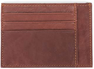 Two Sided Slim Natural Brown 5 x 3.5 Grained Leather Classic Card Case Wallet