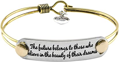 UNQJRY Bracelets for Women Inspirational Gifts for Friends Brass Bangle Jewelry with Motivational Mantra
