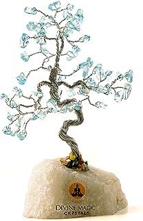 Divine Magic Crystal Tree Decorations Good Luck Gifts Natural Crystal Tree Blue Topaz Handmade Items Brings Joy, Abundance...