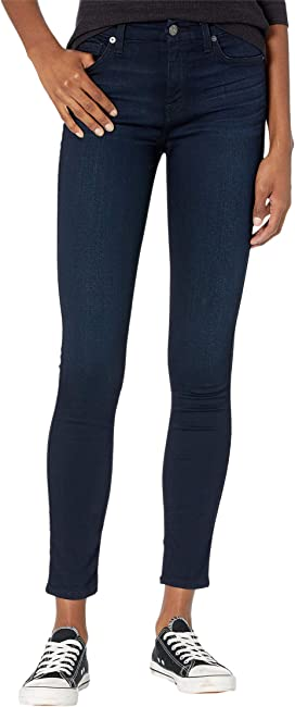7 For All Mankind Womens High-Waist Ankle Skinny in Blue Black Twilight