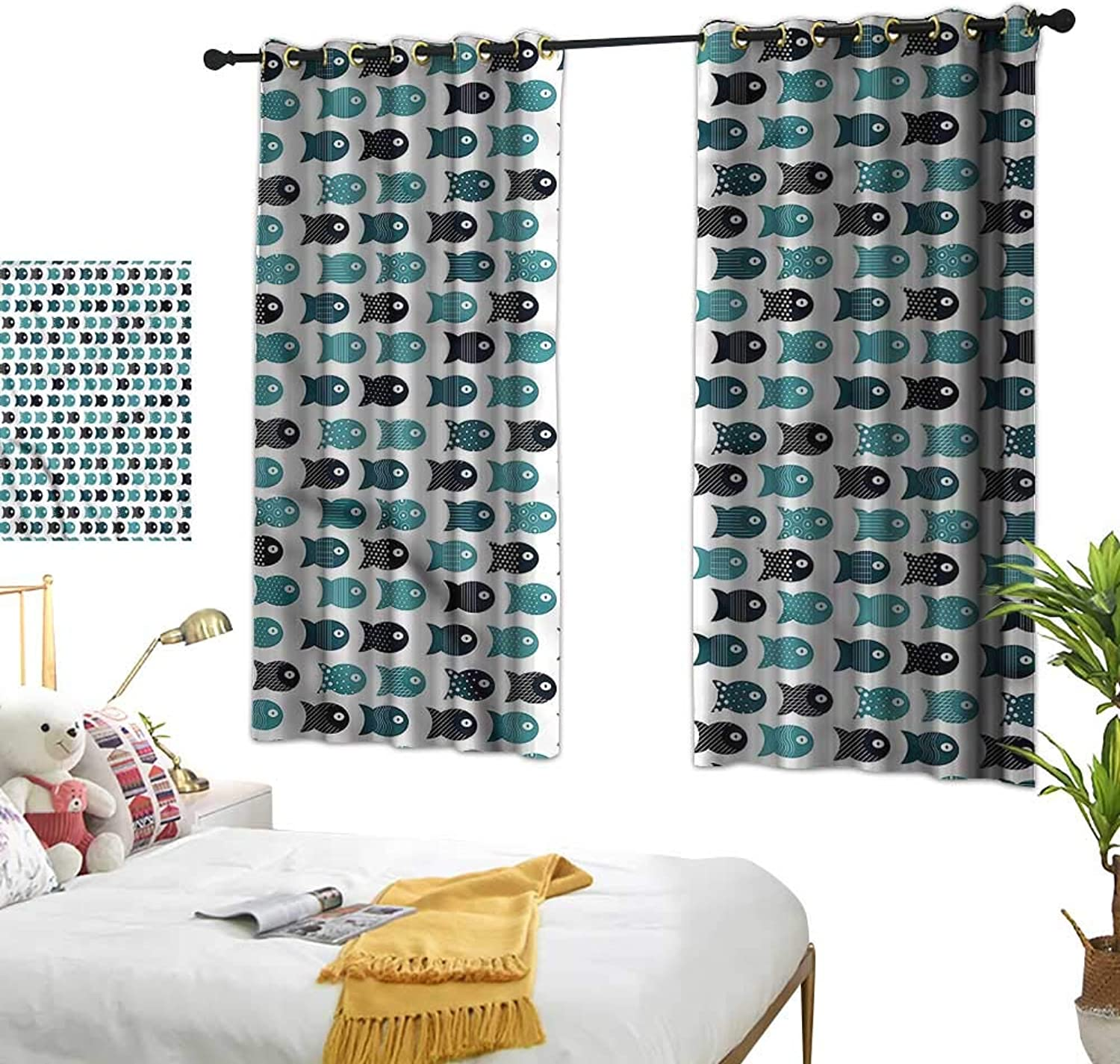 RenteriaDecor Aquarium Drapes Rhombuses with Squares Living Room Drapes W63 x L63