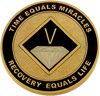5 Year Painted NA Anniversary Medallion - Black on Gold-Plate   Recovery Shop