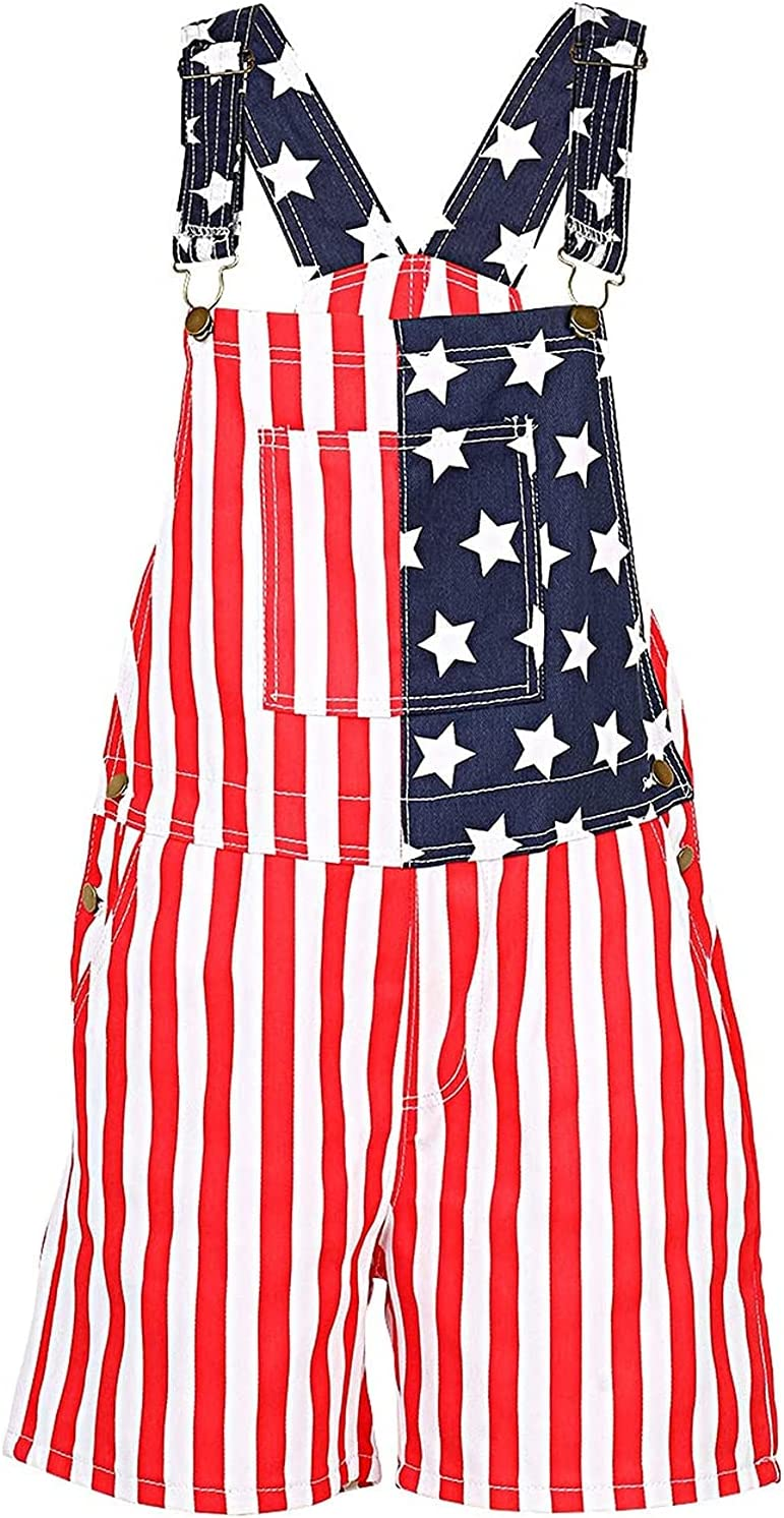Men's Women's American Flag Denim Bib Overall Shorts Casual Walkshort Jumpsuit Romper Adjustable Strap Jean Shorts Rompers (Red,Large)