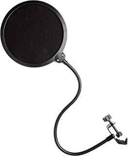 Movo PF-6 Dual Layer Nylon Mesh Microphone Pop filter, Gooseneck Arm and Clamp Mount. Pop Filter Delivers Professional Sound Quality Compatible with Blue Yeti, Blue Snowball Microphones and more