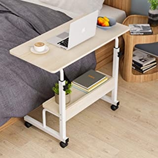 Adjustable Computer Table Movable Sofa Bed Table Laptop Computer Stand Desks for Office, Home Study 80 * 40, Beige