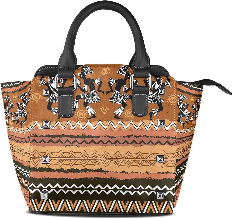 My Little Nest Women's Top Handle Satchel Handbag Ethnic Ornament Dancing Africans Ladies PU Leather Shoulder Bag Crossbody Bag