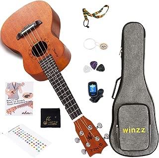 WINZZ Sporano Mahogany Hawaii Ukulele with Bag, Finger Sticker, Chord Card, Tuner, Strap, Picks, Extra Strings, Polish Cloth, 21 Inches