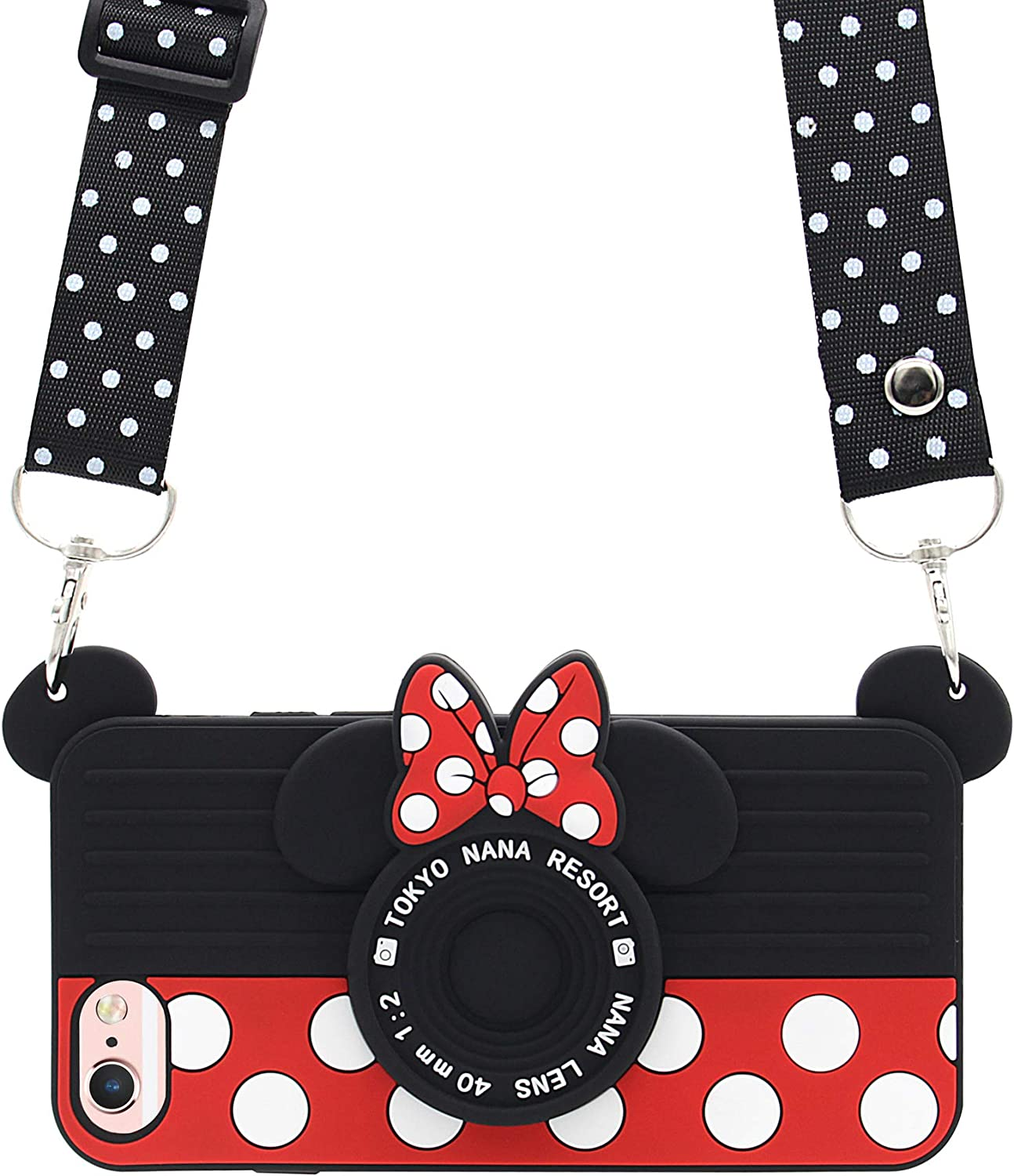 iPhone 6 Case, iPhone 6s Case, MC Fashion Cute 3D Minnie Mouse Polka Dots Camera Case for Teens Girls Women, Shockproof and Protective Soft Silicone Phone Case for Apple iPhone 6/6s (4.7-Inch)