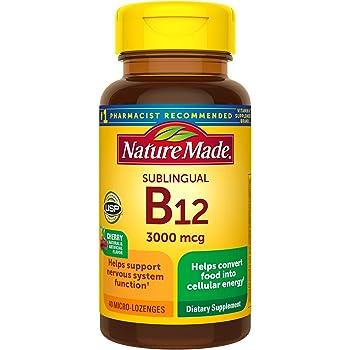 Nature Made Sublingual Vitamin B12 3000 mcg Micro-Lozenges, 40 Count (Packaging May Vary)