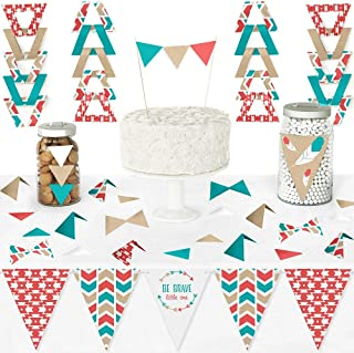 Big Dot of Happiness Be Brave Little One - Diy Pennant Banner Decorations - Boho Tribal Baby Shower or Birthday Party Triangle Kit - 99 Pieces