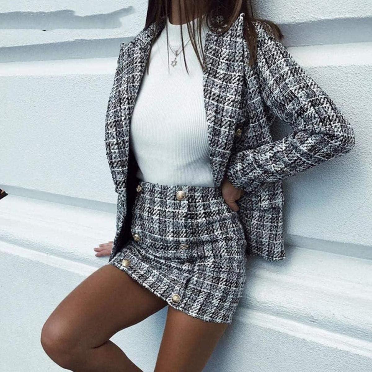 Two-Piece Plaid Tweed Women Blazer Suit Casual Streetwear Suits Female Blazer Sets Chic Office Ladies Skirt Suits