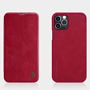 """Nillkin Case for Apple iPhone 12 / Apple iPhone 12 Pro (6.1"""" Inch) Qin Genuine Classic Leather Flip Folio + Card Slot Red Color"""