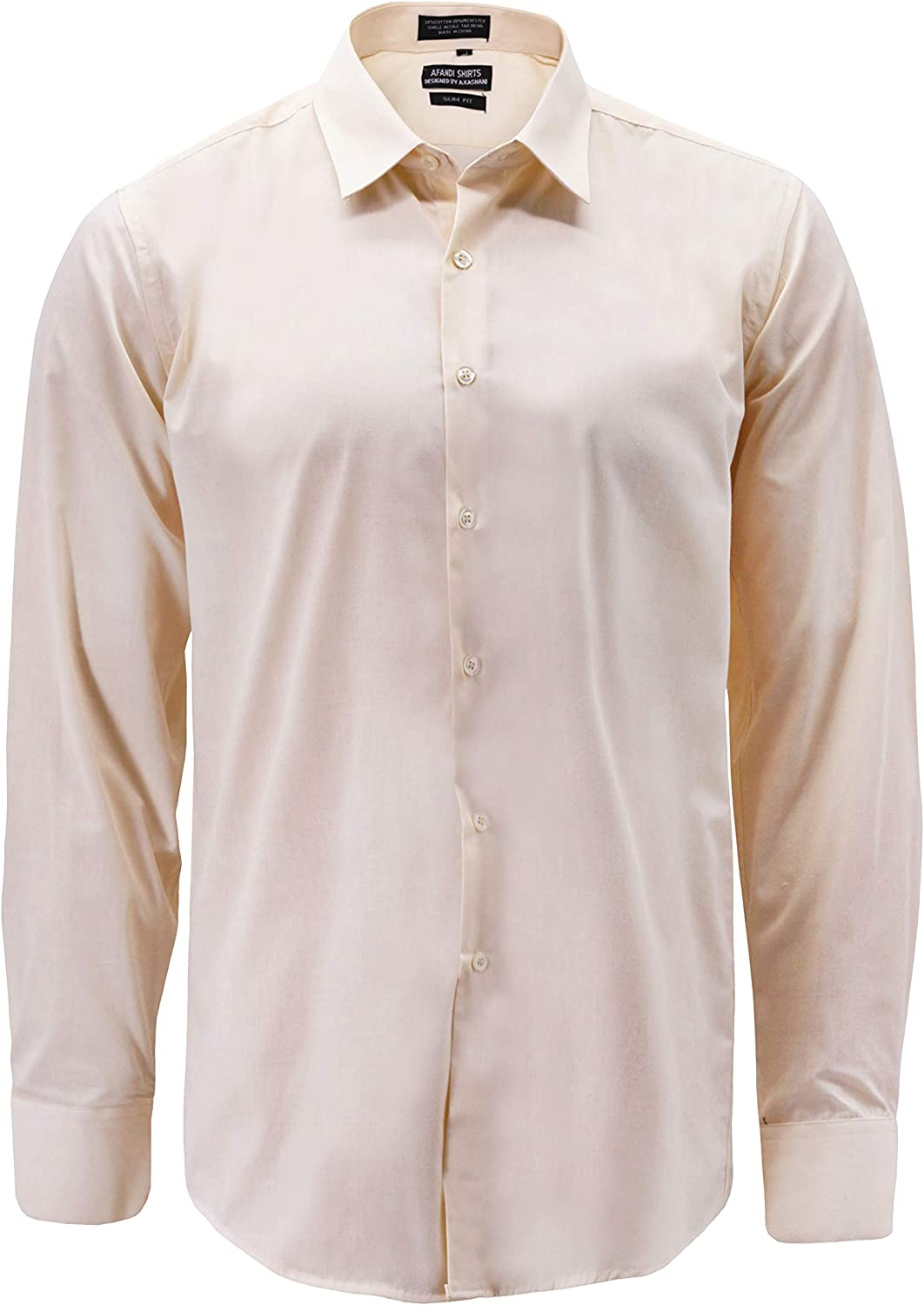 Men's Classic Button Up Long Sleeve Solid Cream Color Slim Fit Dress Shirt