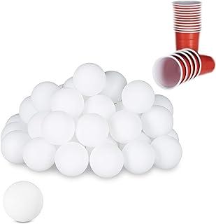 Relaxdays 10021524 Beer Pong ballen, 48 stuks, tafeltennisballen, drinkspel, ping pong-ballen, zonder opdruk, 38 mm, kunst...