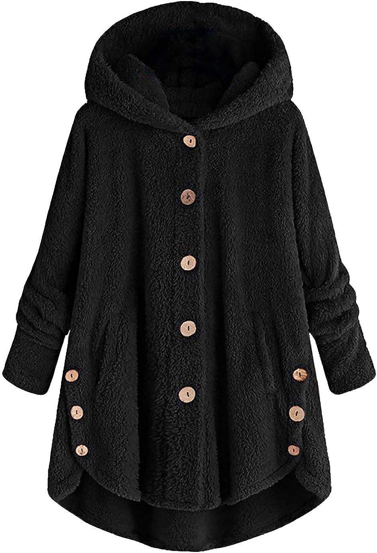 Women Hooded Coat Plus Size Button Plush Tops Loose Cardigan Jacket Outerwear URIBAKE
