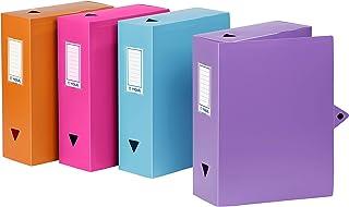 Viquel - Lot de 4 boites de classement en plastique assorties - Boites à archive grande capacité pour rangement documents...