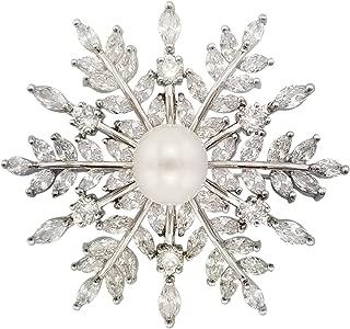Bridal Zircon CZ Bouquet Snowflake Simulated Pearl Brooch Pins Silver Tone