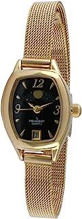 ساعة بيجو للنساء مطلية بالذهب 14 قيراط شبكة رفيعة عتيقة ديكور الشمس فيز ساعة مع التاريخ