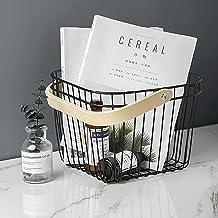 Fruit Basket Rangement - Stand en acier résistant de fruits Storage & Organiseur avec manche en bois - Parfait pour les fr...