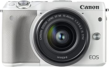 Canon EOS M3 24.2MP 1080P Wi-Fi Camera with EF-M 15-45mm is STEM Lens (White) (International Model No Warranty)