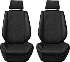 TLH Car Front Seat Protectors Air Bag Compatible Neo Supreme Luxury Diamond Design Universal Seat Covers, Black Pair