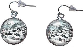 Orecchini pendenti in acciaio inossidabile, diametro 20 mm, fatto a mano, illustrazione Paesaggio invernale 3