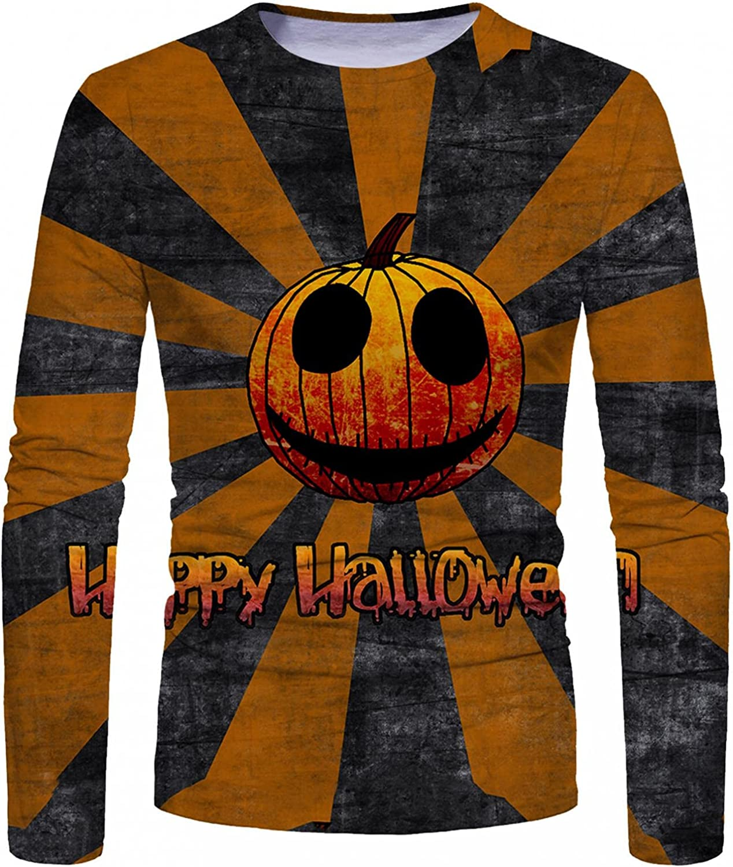 Mens Shirts Men's Halloween Graphic 3D Digital Printed T-shirt Long Sleeve Tee Shirts for Men Top Blouse Polo Shirts for Men