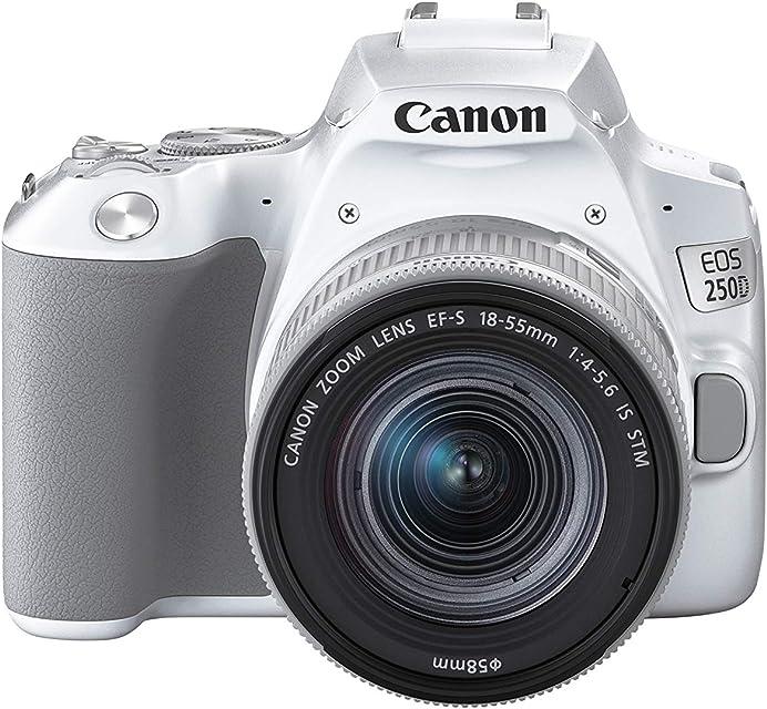 Canon EOS 250D - Cámara digital (241 MP 6000 x 4000 Pixeles CMOS 4K Ultra HD pantalla táctil) blanco - kit con cuerpo y EF-S 18-55IS STM