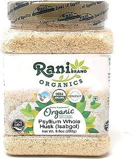 Rani Organics Psyllium Whole Husk Powder (Isabgol), Dietary Fiber Supplement, USDA Organic 9.8oz (280g) PET Jar ~ All Natu...