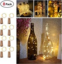 Wine Bottles String Lights with Cork, TERSELY[8 Pack] 2M 20 LED Warm White Waterproof Silver Wire Battery Starry Fairy Light for DIY Home Decorative Christmas Halloween Wedding Party Indoor