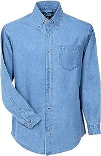 Big Mens Cotton Denim Stonewashed Long Sleeve Shirt