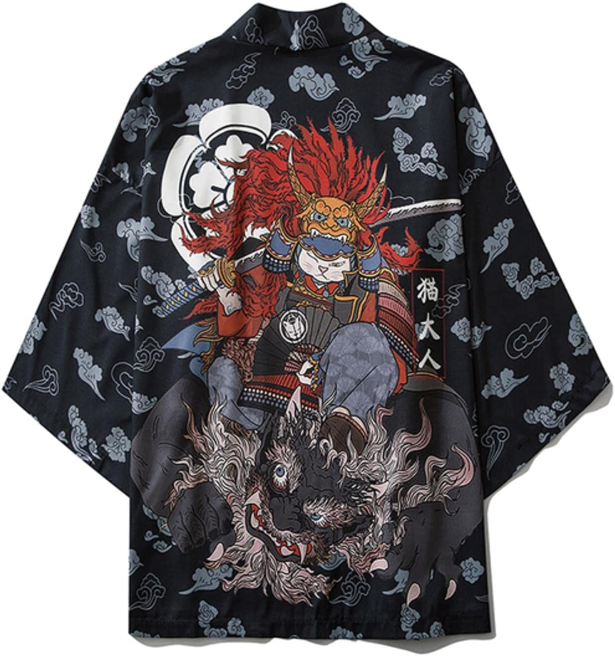 Traditional Japanese Samurai Cat Kimonos Cardigan Robe Men Summer Women Yukata Haori Casual Cosplay Anime Clothing