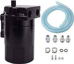 ESPEEDER Universal Aluminum Car Truck Engine Oil Catch Can Tank Polish Baffled Reservoir Black 300ml