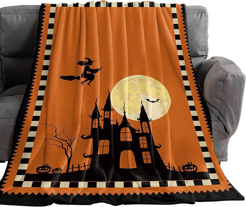 OneHoney Halloween Moon 4 years warranty Broom 5 ☆ popular Witch Thro Fleece Flannel Blankets